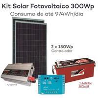 Kit Energia Solar Fotovoltaica 300wp 974wh/dia Baterias Inclusas