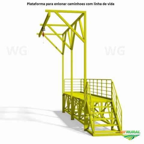 Plataforma para enlonar caminhoes fixa ou móvel com linha de vida