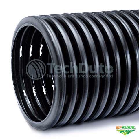 Tubo dreno flexível corrugado para drenagem 4 pol ou 100mm em PEAD - techdreno
