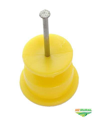Isolador para cerca elétrica Roldana com prego - Preto ou Amarelo - Somos Fabricantes