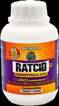 Raticida Pó contato Coumatetralil 200 g. Caixa com 12 x 200 g.