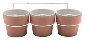 Kit com 3 Vasos Autoirrigáveis Terracota com Suporte Linha Plantar < Ou >