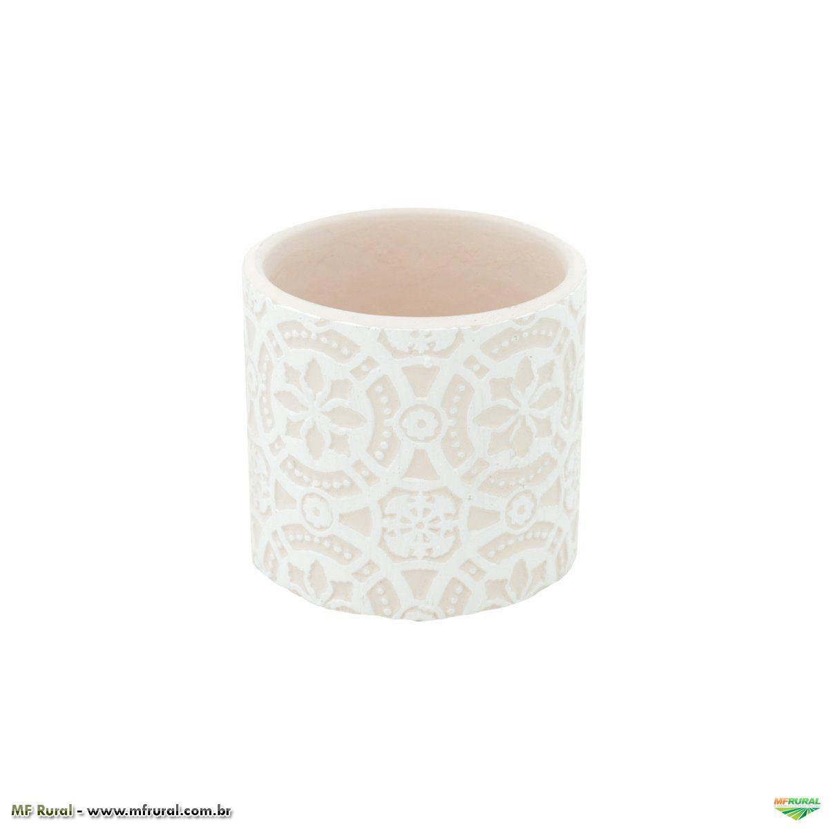 Vaso de Cerâmica Brocado Rosa 6,5cm x 7cm - 42133
