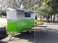 Banheiro móvel rural masc. e fem. com bagageiro e area de vivência para 14 pessoas