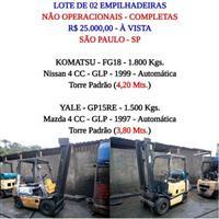 LOTE DE 02 EMPILHADEIRAS - NÃO OPERACIONAL - KOMATSU - FG18 - 1.800 KGS - YALE GP15RE 1.500 KGS