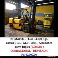 EMPILHADEIRA KOMATSU - FG40 CAP. 4.000 KGS GLP - 2005 - TORRE TRIPLEX ( 6,00 Mts)  - AUTOMÁTICA