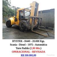 EMPILHADEIRA HYSTER - H440 - CAP. 20.000 KGS - DIESEL - AUTOMÁTICA - TORRE PADRÃO ( 2,90 Mts)