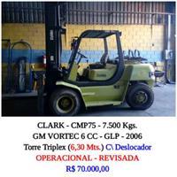 EMPILHADEIRA - MARCA CLARK - MODELO CMP75 CAP. 7.500 kGS - GM VORTEC 6 CC GLP 2006 TRIPLEX