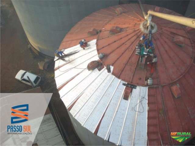 Impermeabilização de coberturas em galpões industriais, silos e outros