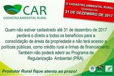 Cadastro Ambiental Rural fim do prazo
