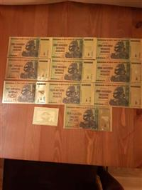 10 Zimbabwe Gold 100 Trillion + Certificate = 300 Usd