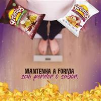 biscoito chips de mandioca, cará e batata doce