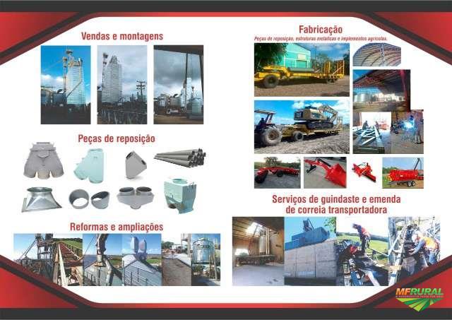 Montagens e reformas de silos e secadores e fabricação de estruturas metálicas e implementos agrícol